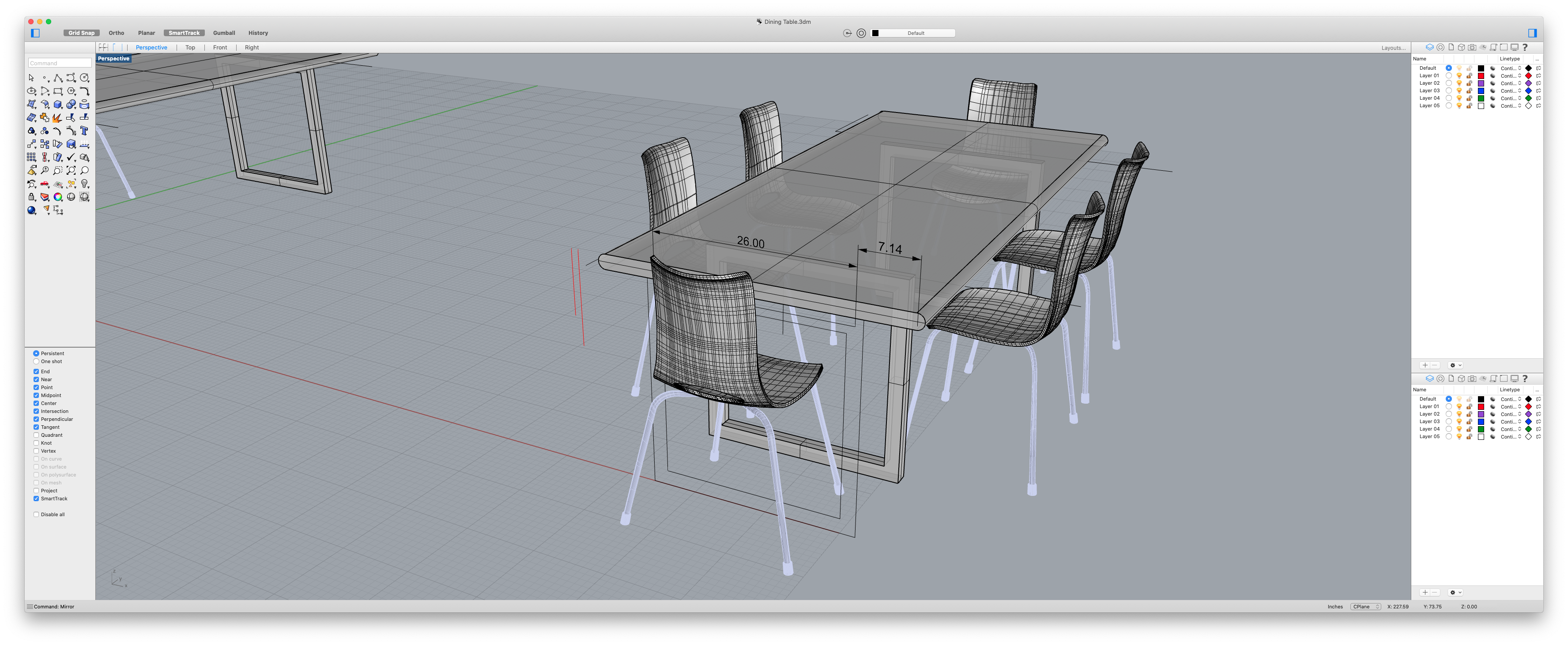 3D Render of the table for scale