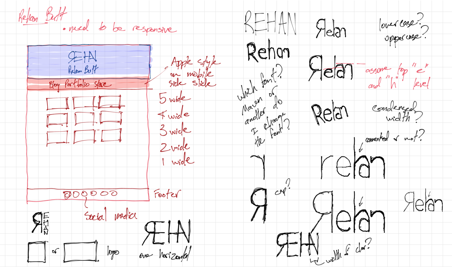 Sketches of Page Layout and Logo Iterations